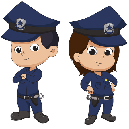 Police kid standing Vector and illustration. 向量圖像