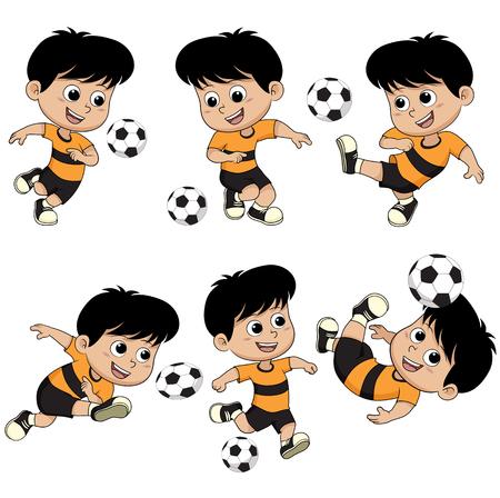 다른 포즈와 함께 만화 축구 아이입니다. 벡터 및 그림입니다. 일러스트