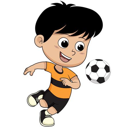 Cartoon soccer kid.Vector and illustration. Vetores