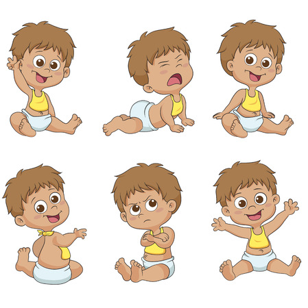 Set of cute little babies.vector and illustration.
