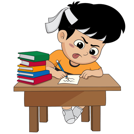 kid doing a homework.vector and illustration