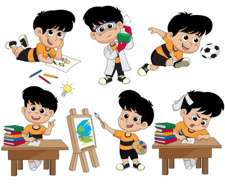 Retour à l'école. Un enfant mignon dessine une image, fait des expériences avec des liquides dans un laboratoire de chimie, joue au football, a une idée, peint une image, fait ses devoirs Vecteurs