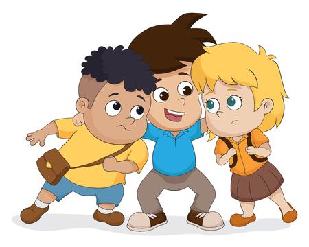 Die Kindergruppe spricht zusammen. Vektor und Illustration. Standard-Bild - 78461540