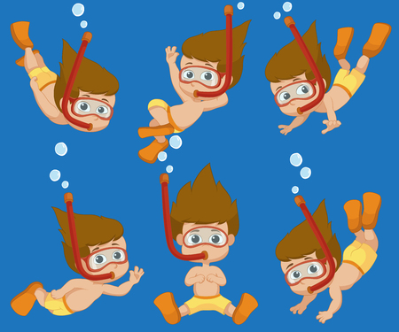 swimming glasses: Kid diving under the ocean.Vector and illustration.