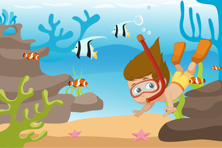 Kid diving under the ocean.Vector and illustration.