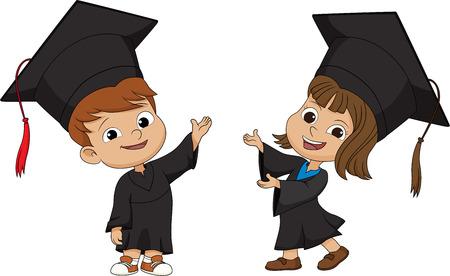 幸せな卒業 Kids.vector の図。