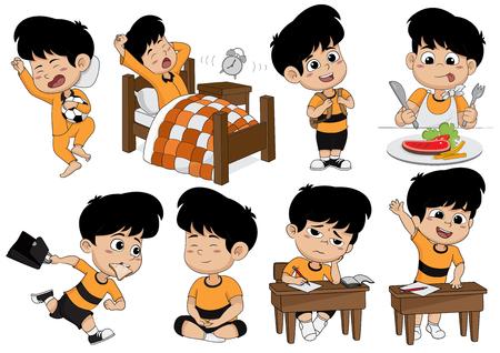 Ensemble de l'activité de l'enfant, kid se réveiller, dormir, manger, aller à l'école, apprendre, méditer.Vector et illustration. Banque d'images - 79736935