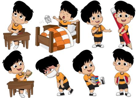 Conjunto de actividad infantil, niño pensar, despertarse, sosteniendo un gran lápiz, comer sándwich, enfermo, la celebración de un libro. Vector e ilustración. Ilustración de vector