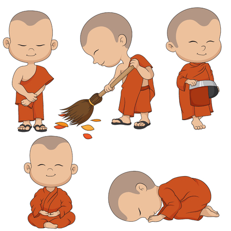 Set of cartoon monks. Vector and illustration. Çizim