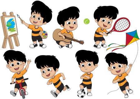Set di attività per bambini, ragazzino che dipinge una foto, suona una chitarra, suona un tennis, va in bicicletta, corre, gioca a calcio, suona un kite.vector e illustrazione.