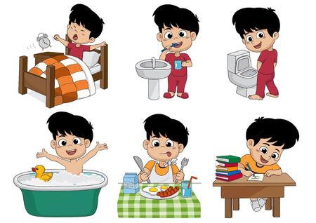 Conjunto de meninos cotidianos, rapaz acordado, escovando dentes, mijo de miúdo, tomando um banho, café da manhã, brinquedo de criança e ilustração.
