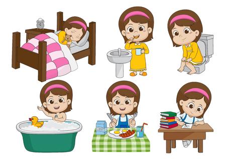 Ensemble de filles mignonnes quotidiennes, se réveiller, se brosser les dents, faire pipi, prendre un bain, faire le petit déjeuner, se lancer dans les cieux. Vecteur et illustration.
