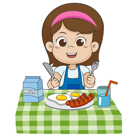 The child eats breakfast that can affect the growth of children ivery much.vector and illustration.