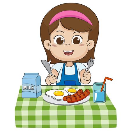 Het kind eet ontbijt dat de groei van kinderen kan beïnvloeden, heel veel.vector en illustratie.