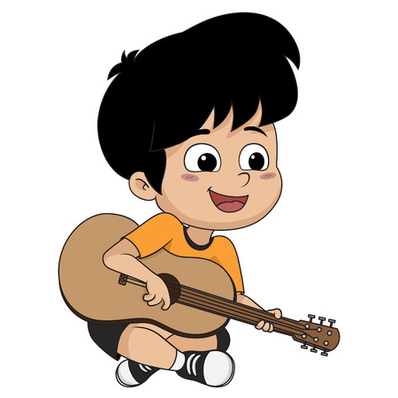 The kid played guitar. The music makes kids concentrate and help to the potent drugs.vector and illustration.  イラスト・ベクター素材