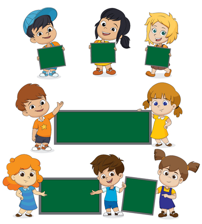 Back to school blank template with kid.You can put the massage in this.Vector and illustration