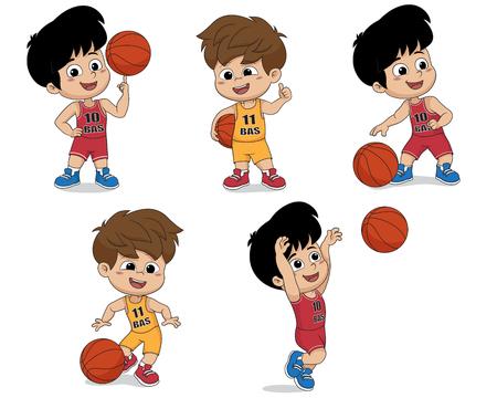 Set of kid playing basketball.vector and illustration.