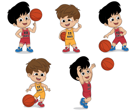 Set of kid playing basketball.vector and illustration.