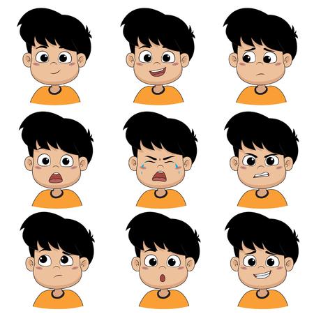 Ensemble d'émotion garçon mignon, sourire, heureux, rire, triste, surprise, pleurer, pleurer, bouleversé, en colère, penser, désolé. Vecteur et illustration.