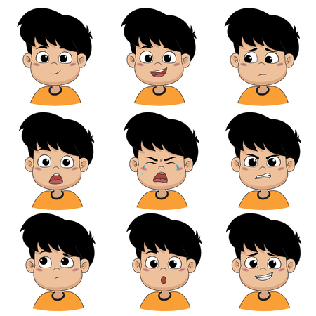 Set of emotion cute boy ,smile, happy, laugh, sad, surprise, cry, tears, upset, angry, thinking,sorry.Vector and illustration.