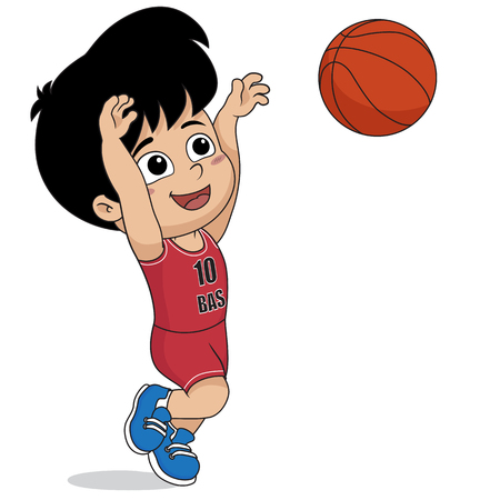 kid playing basketball.vector and illustration.