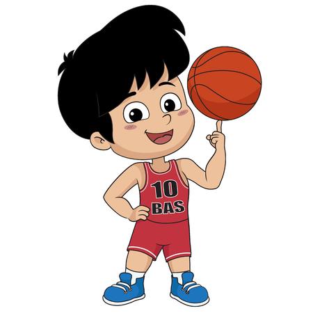 niño jugando basketball.vector e ilustración.