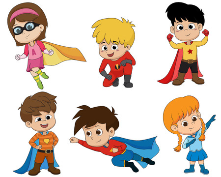 Set of kids wearing superhero costumes with different pose.vector and illustration.