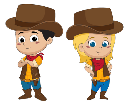 Adorable kid cowboy.vector and illustration.