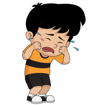 kid crying.vector and illustration.