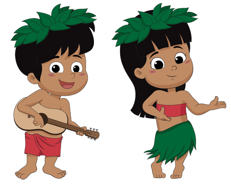 Hawaiian boy playing ukelele and girl hula dancing.vector and illustration.  イラスト・ベクター素材