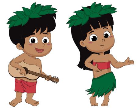 Hawaiian boy playing ukelele and girl hula dancing.vector and illustration. 일러스트