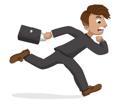 rushed: He rushed to work because of be late for work.Vector and illustration.