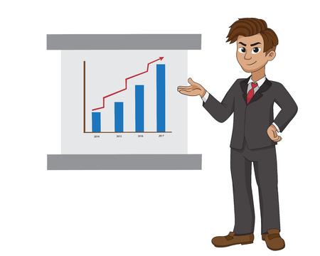 Businessman doing presentation about marketing sale.vector and illustration.