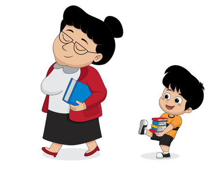 Les enfants aident l'enseignant à porter un livre.vector et une illustration. Vecteurs