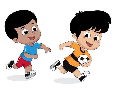 Jongen voetbal spelen met friends.vector en illustratie. Stock Illustratie