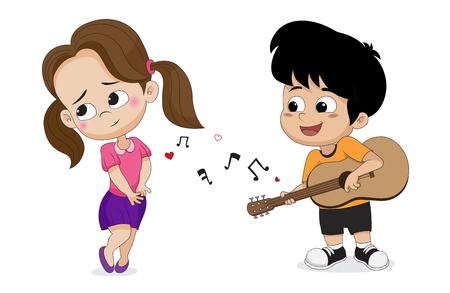 バレンタインに女の子のためのギターを弾いている少年。ベクトルとイラスト。