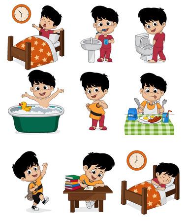 Conjunto de chico lindo diario. Chico despierta, cepillarse los dientes, hacer pipí, bañarse, vestirse, desayunar, aprender niños, dormir niños.vector e ilustración.