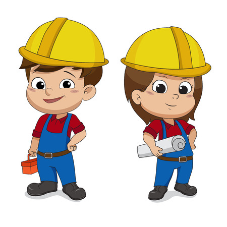 Set of cartoon Engineers.Vector and illustration. Banco de Imagens - 85536970