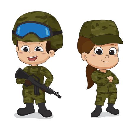 Insieme dei soldati Progettazione di carattere del fumetto isolata su fondo bianco Vettore ed illustrazione. Vettoriali