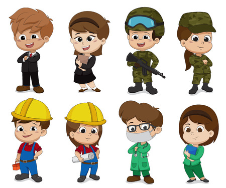 Kid of different professions.[Business,Soldier,Engineer,Doctor] Çizim