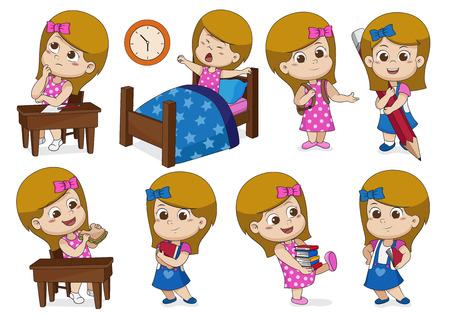 Conjunto de una niña que hace actividades en un día [piense, se despierta, sostiene un lápiz grande, come un sándwich, sostiene un libro]. Vector e ilustración.