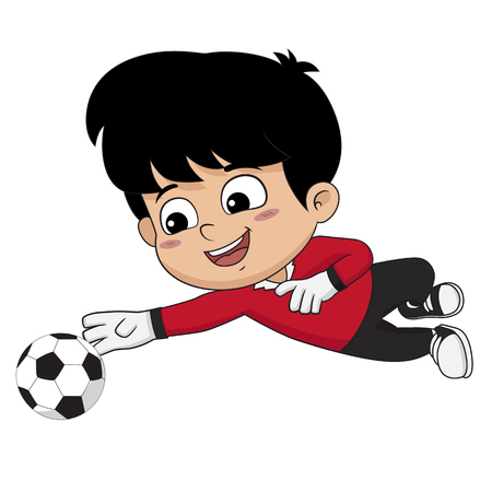 Goalkeeper kid are safe and fun.Vector and illustration.