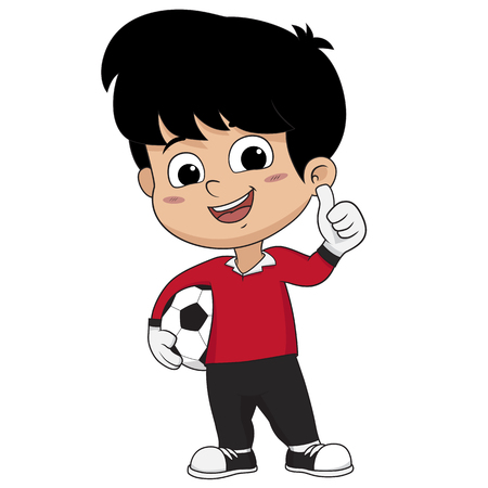 Goalkeeper kid standing with thumb up.Vector and illustration.