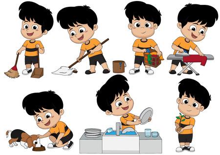 Un día, el niño ayuda a los padres a hacer muchas cosas, como barrer, trapear, lavar, planchar, alimentar al perro, lavar los platos y plantar árboles. Vector e ilustración.