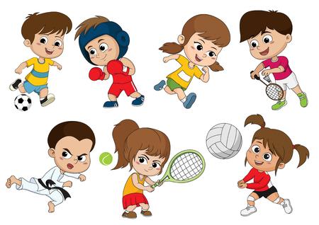 Dzieci uprawiające różne sporty, takie jak piłka nożna, boks, bieganie, badminton, taekwondo, gra w tenisa, siatkówkę.Sport wzmacnia ciało, a także wzmacnia odporność dzieci.