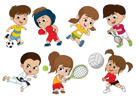 Kinder verschiedener Sportarten, wie Fußball, Boxen, Laufen, Badminton, Taekwondo, Tennis spielen, Volleyball. Sport hilft, Körper stark zu machen und auch Immunität für Kinder aufzubauen.