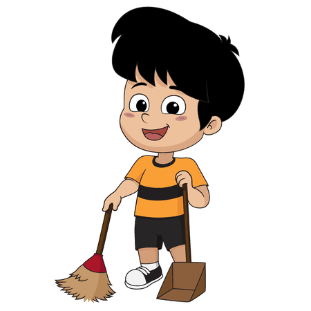 Kid help their parents to sweep home.Vector and illustration. Illustration