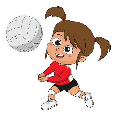 Mädchen, das Volleyball mit ihren Freunden spielt. Vektor und Illustration. Standard-Bild - 88019704