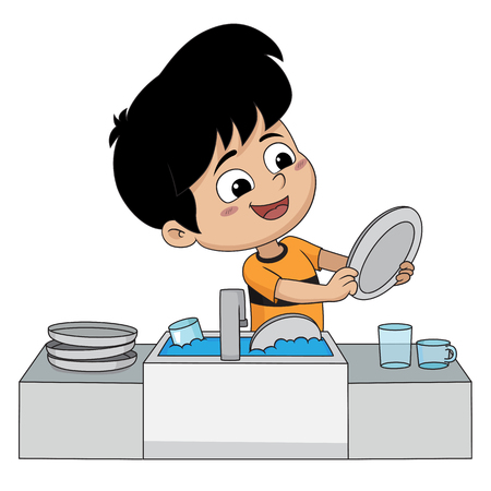 Kid help their parents wash dishes.Vector and illustration. Vectores