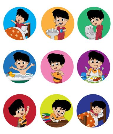 Satz des täglichen netten Jungen. Junge wachen auf, Zähne putzen, Kindpinen, ein Bad nehmen, oben gekleidet, Frühstück, Kinderlernen, Kind sleep.vector und Illustration. Vektorgrafik